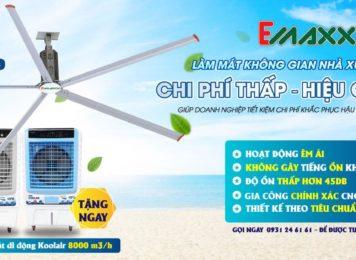 Quạt trần công nghiệp HVLS thương hiệu Emaxx & Koolair
